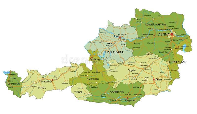 L'Autriche - carte politique editable fortement détaillée avec des couches séparées illustration de vecteur
