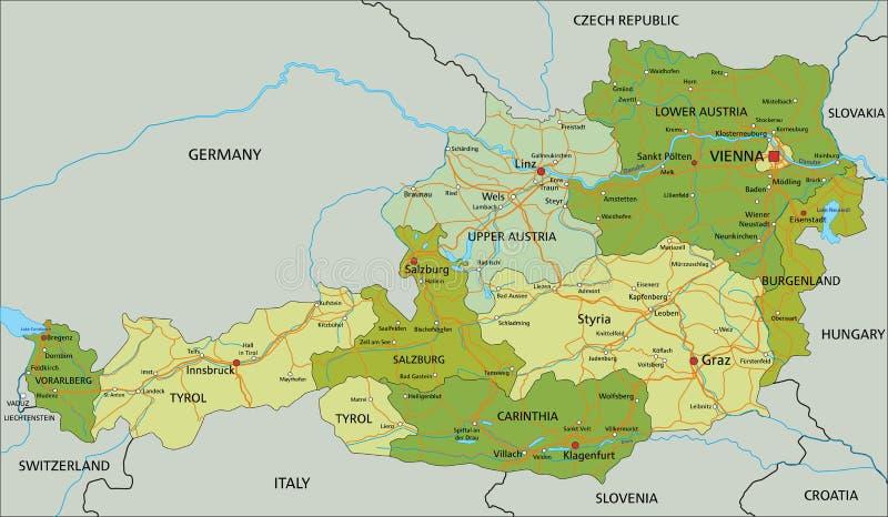 L'Autriche - carte politique editable fortement détaillée avec des couches séparées illustration stock