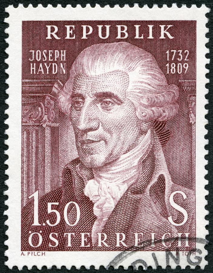 L'AUTRICHE - 1959 : expositions Franz Joseph Haydn 1732-1809, compositeur image stock