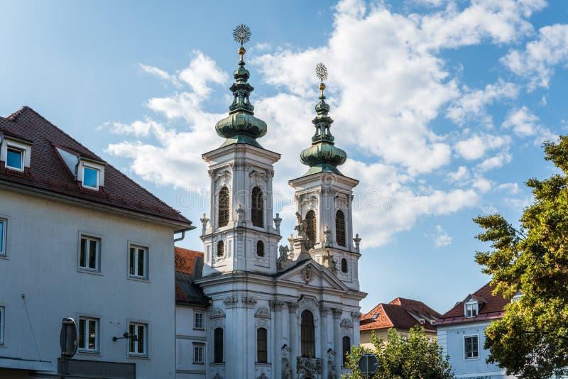 l'autriche Graz Église Mariahilf et place dans la ville centrale photographie stock libre de droits