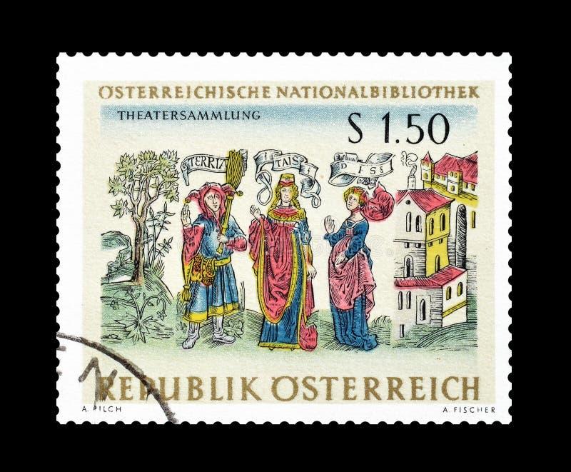 L'Autriche sur des timbres-poste images libres de droits