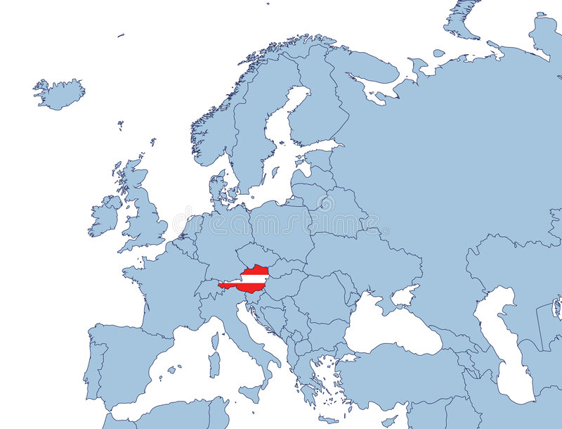 l'Autriche sur la carte de l'Europe illustration stock