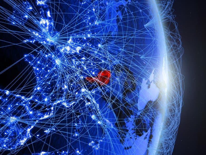 L'Autriche sur la terre numérique bleue bleue photo stock