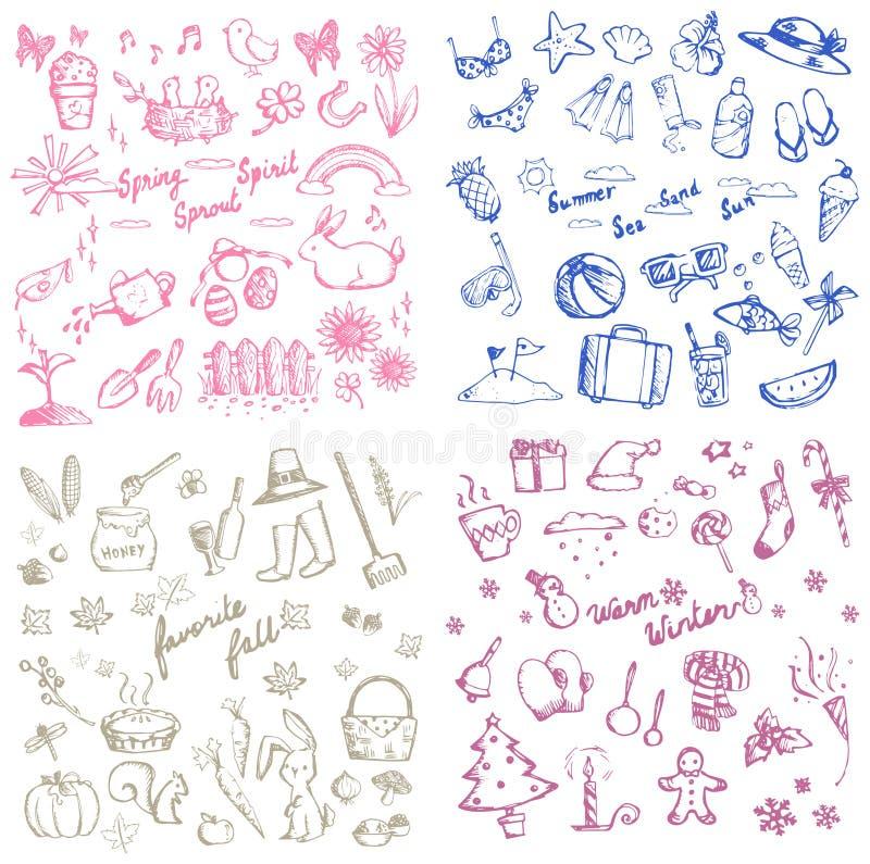 L'autunno dell'estate della primavera e le ferie dell'inverno scarabocchiano l'icona illustrazione di stock