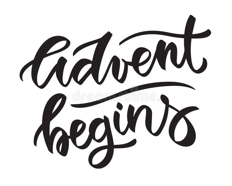 L'avènement commence - le texte manuscrit, mots, typographie, calligraphie, lettrage illustration libre de droits