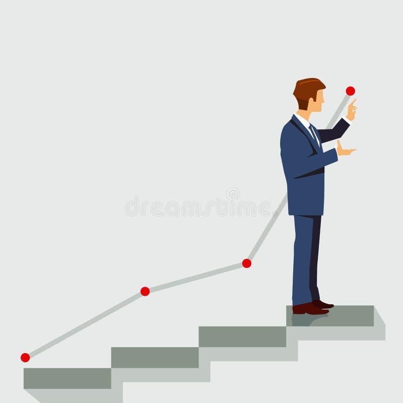 L'avancement professionnel montant et se lèvent illustration stock
