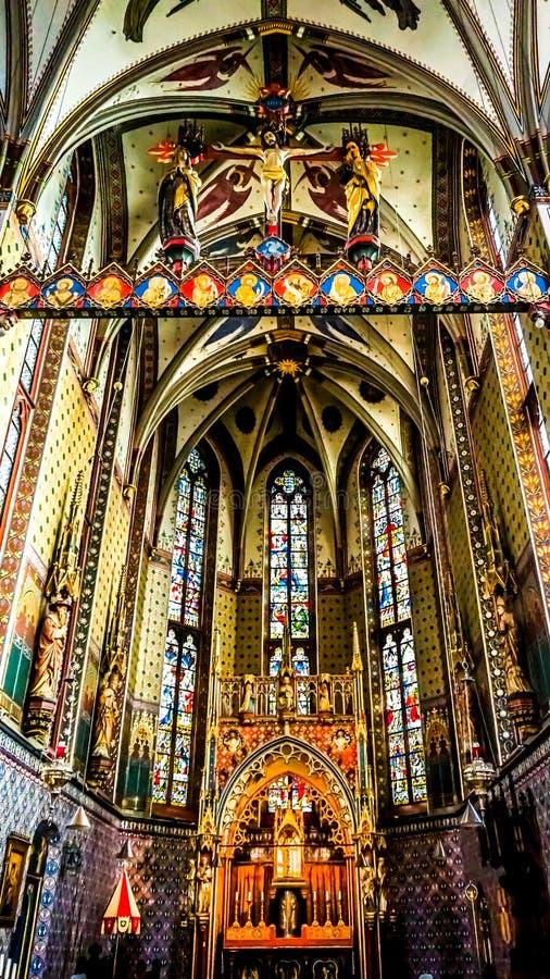 L'avant de l'intérieur de la basilique de notre Madame de l'hypothèse a appelé le Peperbus dans la ville de Zwolle photo libre de droits