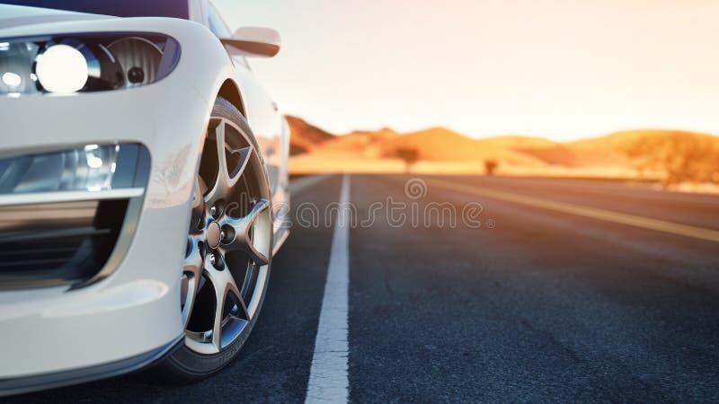 L'avant de la voiture de sport le dos est le désert photographie stock