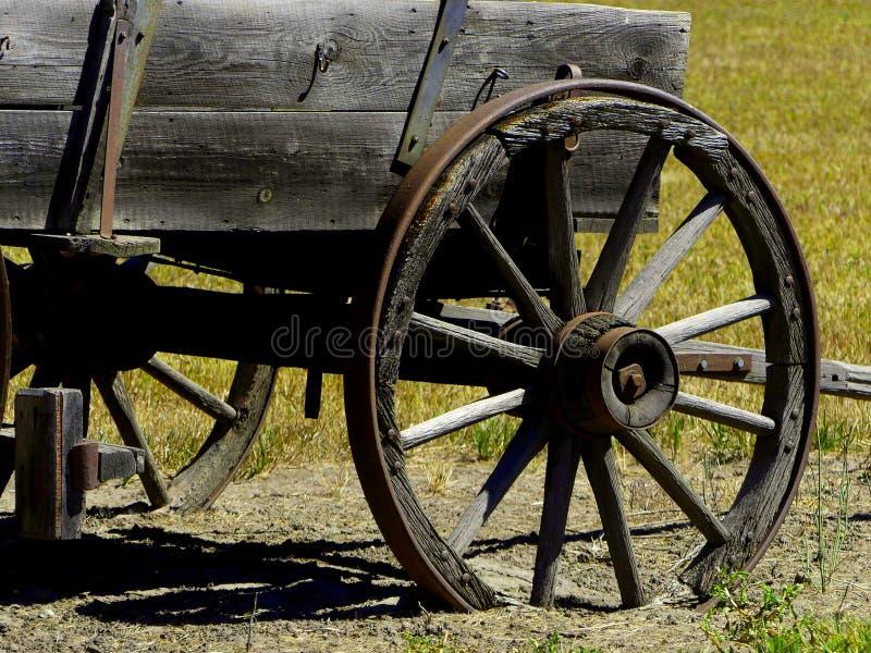 L'avant a parlé des roues d'un chariot de schooner de Prarie photographie stock libre de droits