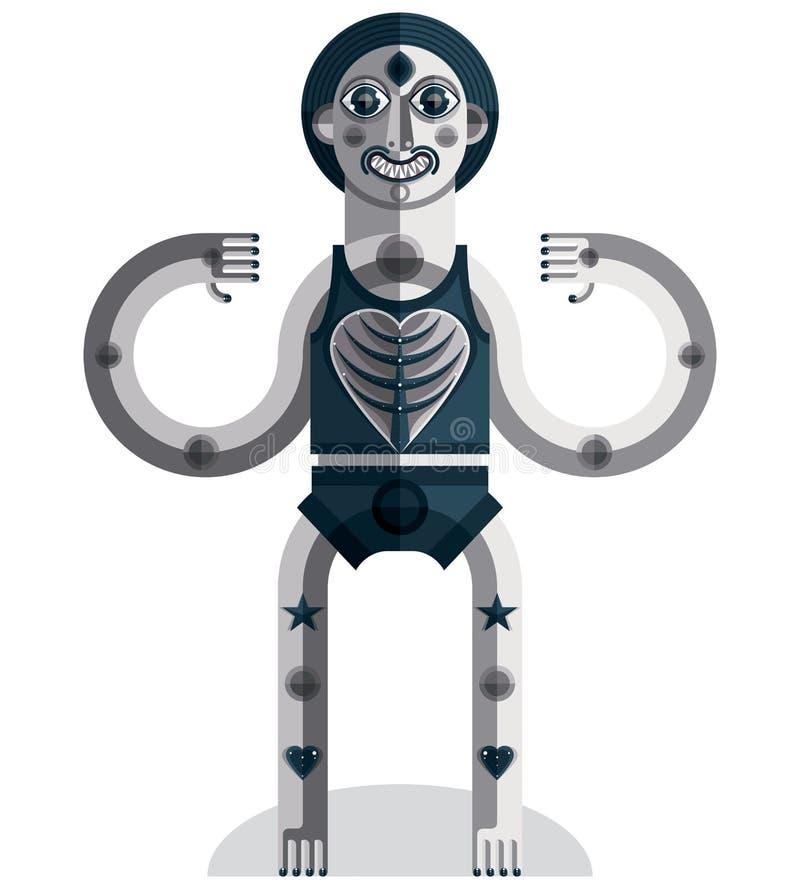 L'avatar all'avanguardia, disegno di gradazione di grigio ha creato nello stile di cubismo M. illustrazione vettoriale