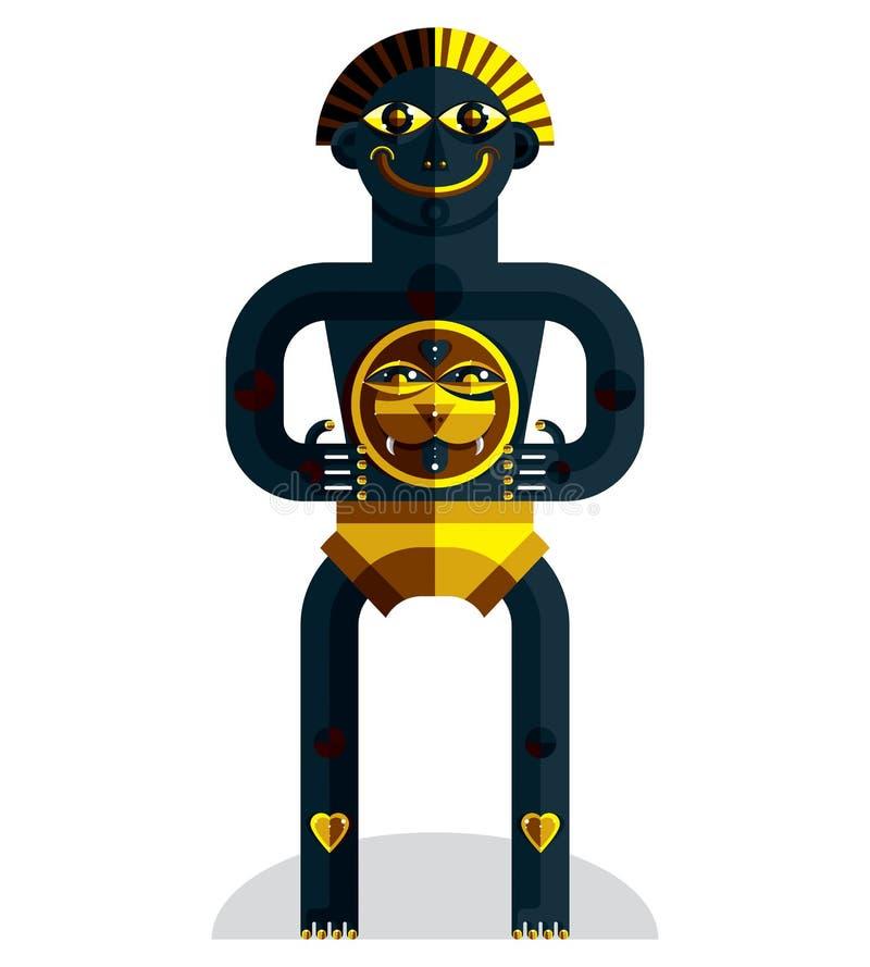 L'avatar all'avanguardia, disegno variopinto della bestia bizzarra ha creato dentro royalty illustrazione gratis