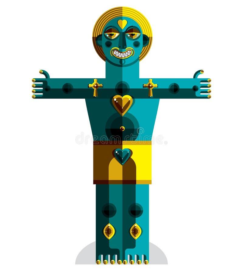 L'avatar all'avanguardia, disegno variopinto ha creato nello stile di cubismo Mo royalty illustrazione gratis