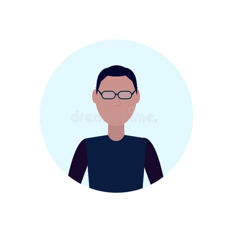 L'avatar d'homme de brune a isolé l'appartement masculin sans visage de portrait de personnage de dessin animé illustration stock