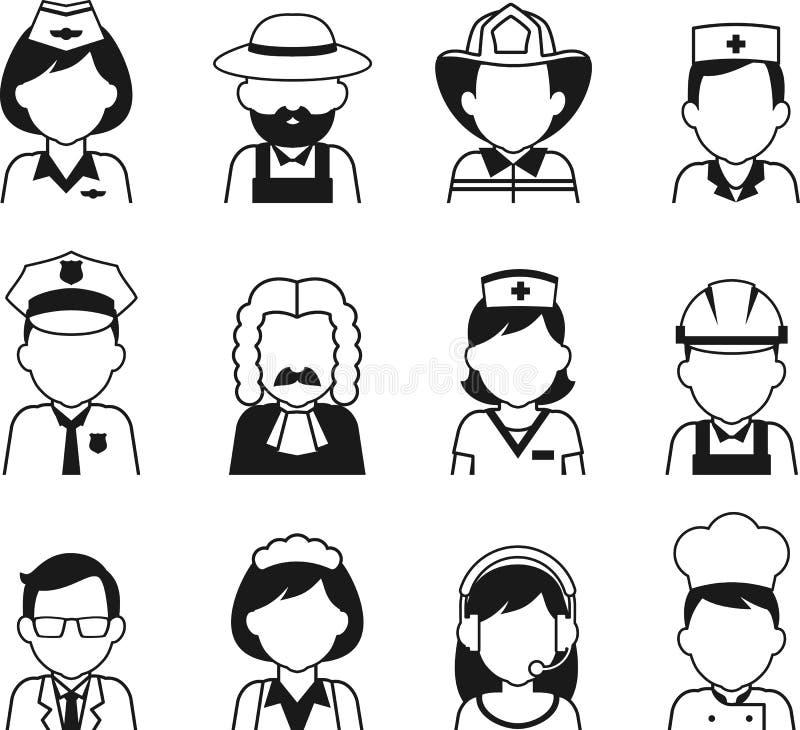 L'avatar de profession de personnes a placé dans le style plat mince illustration de vecteur