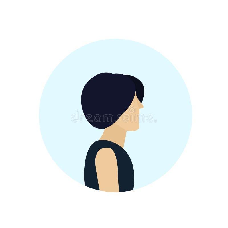 L'avatar de profil de femme de brune a isolé l'appartement femelle de portrait de personnage de dessin animé illustration libre de droits