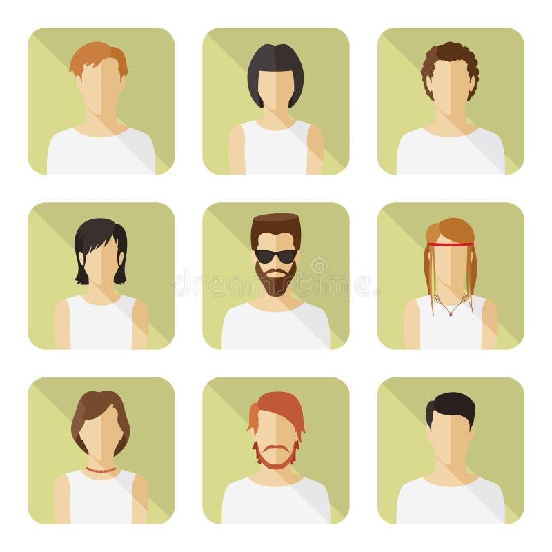 L'avatar de vecteur d'homme et de femme a placé dans le style plat moderne illustration stock