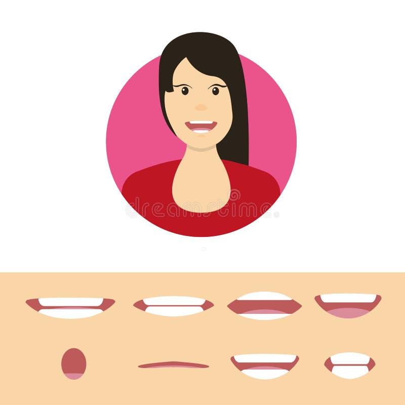 L'avatar della ragazza con differenti espressioni facciali ha messo isolato Vettore piano illustrazione di stock