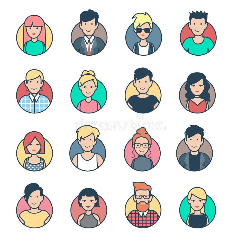 L'avatar plat linéaire de profil, les gens fait face au Ne de vecteur illustration libre de droits