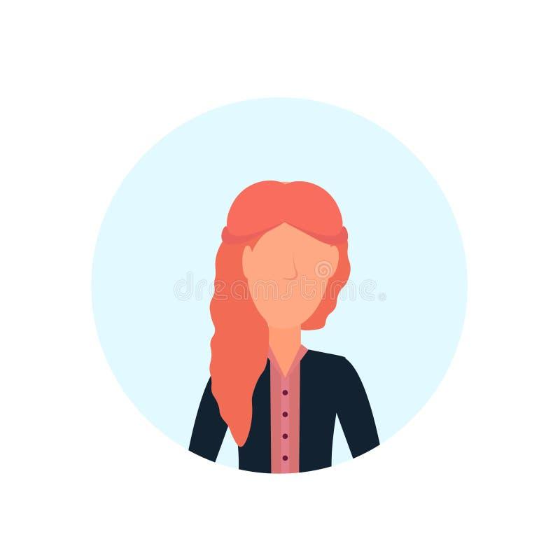 L'avatar roux de femme a isolé l'appartement femelle sans visage de portrait de personnage de dessin animé illustration stock