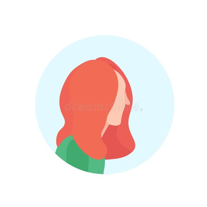 L'avatar roux de profil de femme a isolé l'appartement femelle de portrait de personnage de dessin animé illustration de vecteur