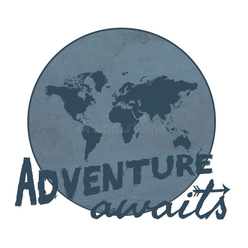 L'aventure attend l'illustration de conception des textes illustration libre de droits