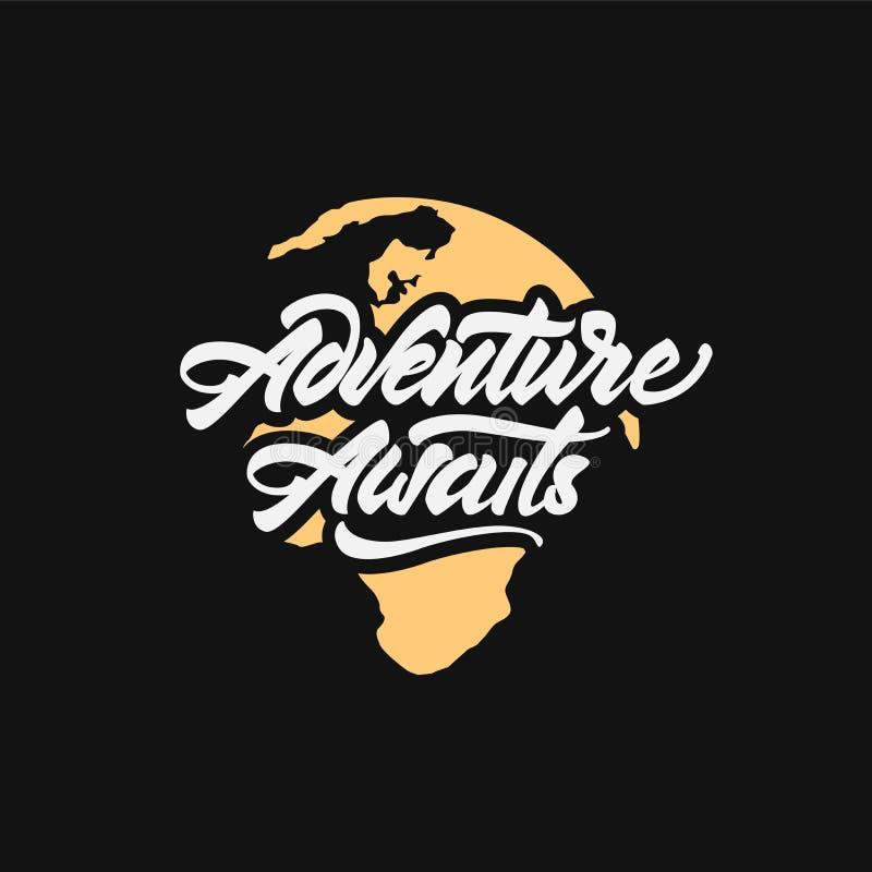 L'aventure attend logotype Inscription de la typographie de inspiration sur terre Illustration de vecteur illustration stock
