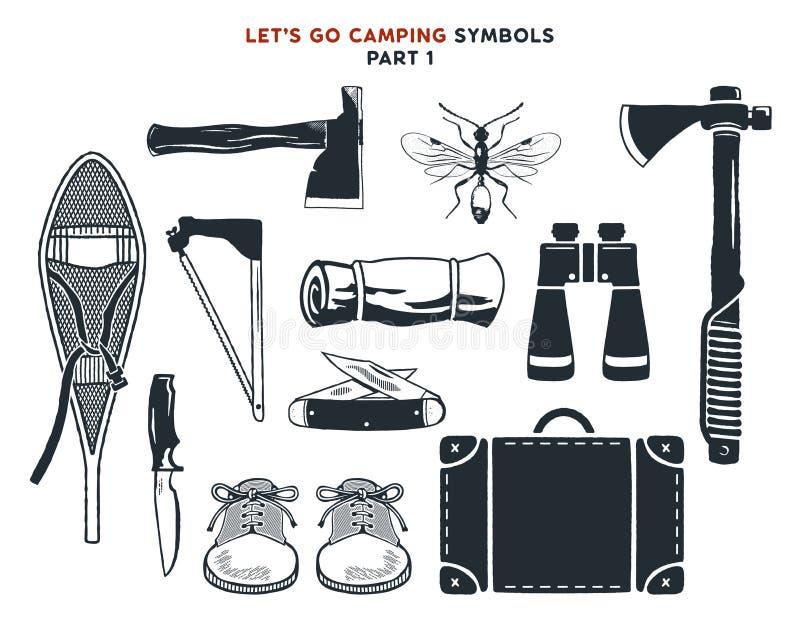 L'aventure tirée par la main de vintage, hausse, campant forme Raquettes de vintage, haches, sac de voyage, jumelles, couteau et  illustration de vecteur