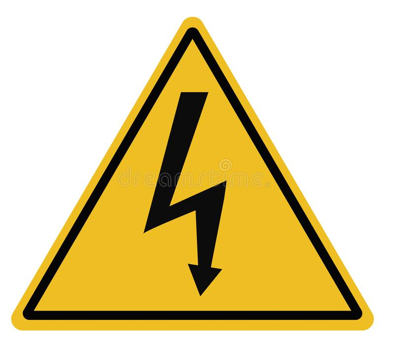 L'avertissement triangulaire à haute tension se connectent le fond blanc illustration stock