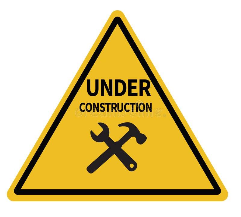 L'avertissement triangulaire en construction se connectent le fond blanc illustration de vecteur