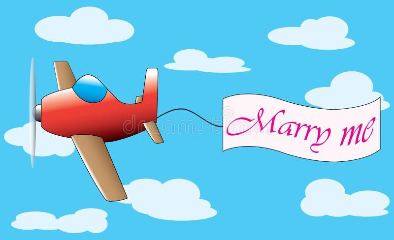 L'avion avec m'épousent bannereart en tant que des symboles de la réconciliation illustration de vecteur