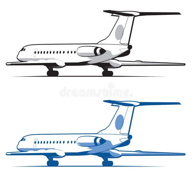L'avion débarque et décollage, la vitesse Course et transport Icône plate dans le style monochrome airlines D'isolement sur le bl illustration stock