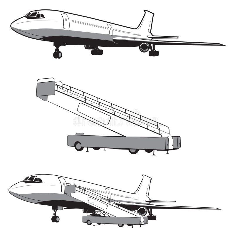 L'avion débarque et décollage, la vitesse Course et transport Icône plate dans le style monochrome airlines D'isolement sur le bl illustration de vecteur