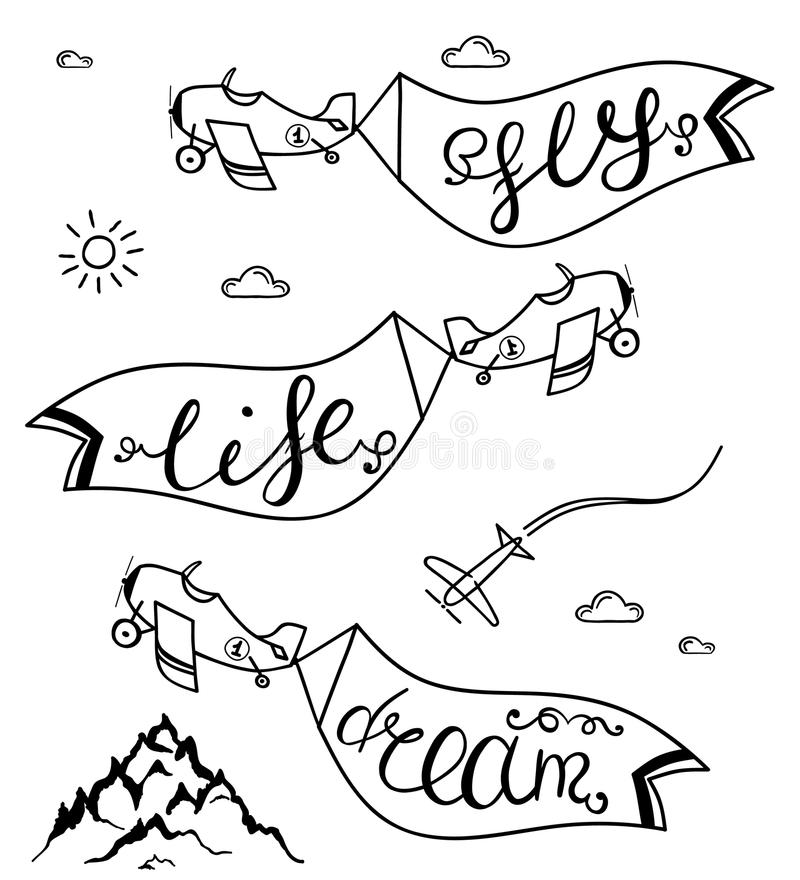 L'avion dans le ciel avec des taglines rêvent, volent, la vie - illustration de concept de voyage Vecteur illustration stock