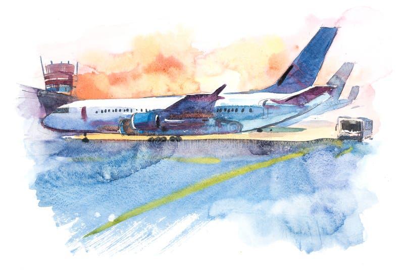 L'avion est à l'aéroport sur le champ de décollage Illustration d'aquarelle illustration stock