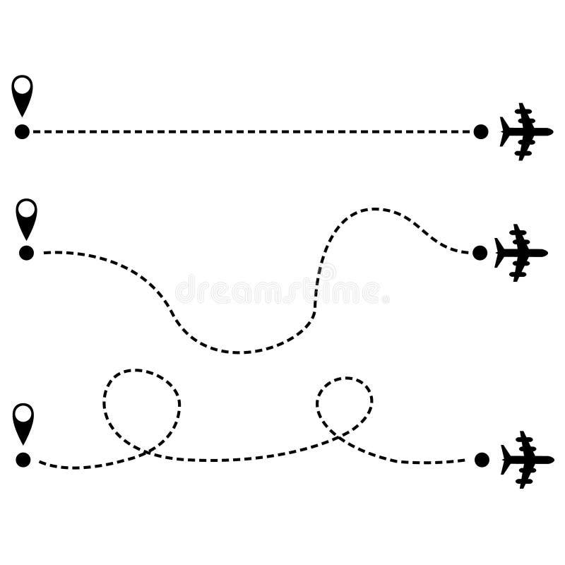 L'avion est dans une ligne pointill?e Tourisme et voyage Le but est pour un voyage de touristes et sa voie sur un fond blanc Vect illustration de vecteur