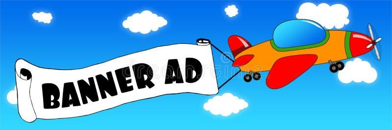 L'avion et la bannière de bande dessinée avec l'ANNONCE de BANNIÈRE textotent sur un ciel bleu b illustration stock