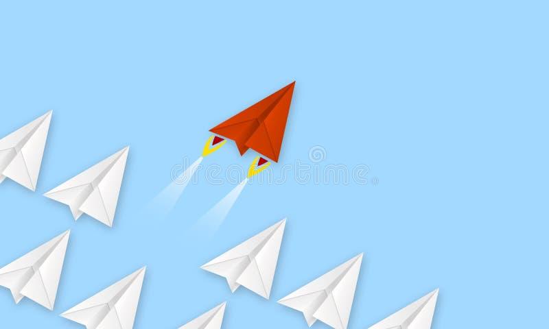 L'avion rouge fait de métaphore de papier pour rev jusqu'à la réussite commerciale photo libre de droits