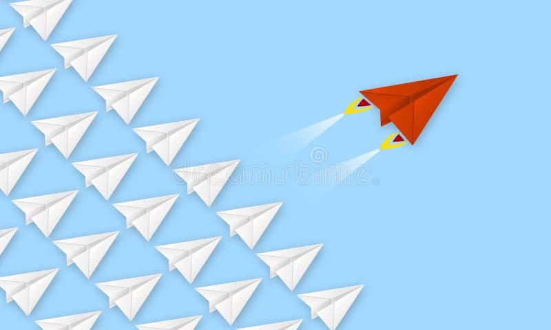 L'avion rouge fait de métaphore de papier pour rev jusqu'à la réussite commerciale images stock