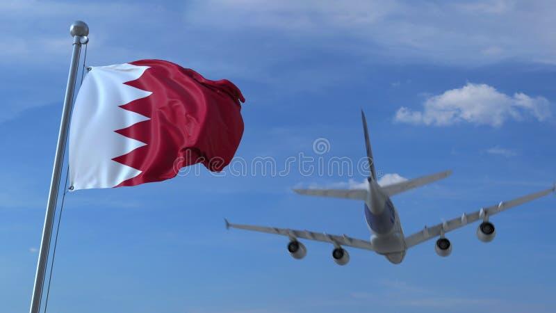 L'avion vole au-dessus du drapeau de ondulation du Bahrain rendu 3d illustration de vecteur