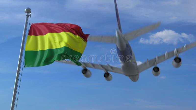 L'avion vole au-dessus du drapeau de ondulation de la Bolivie rendu 3d illustration de vecteur