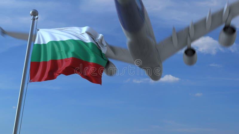 L'avion vole au-dessus du drapeau de ondulation de la Bulgarie rendu 3d illustration stock