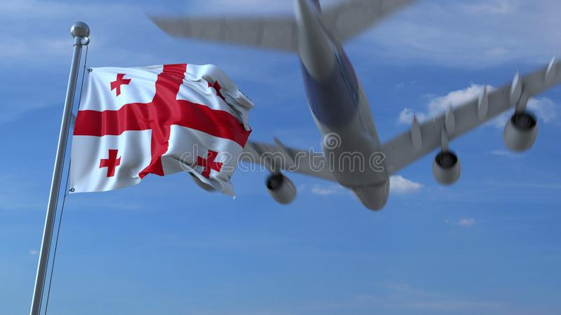 L'avion vole au-dessus du drapeau de ondulation de la Géorgie rendu 3d illustration de vecteur