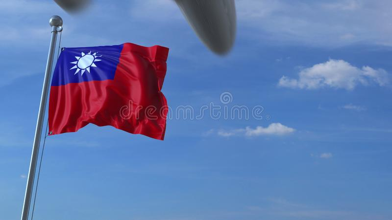 L'avion vole au-dessus du drapeau de ondulation de Taïwan rendu 3d illustration libre de droits