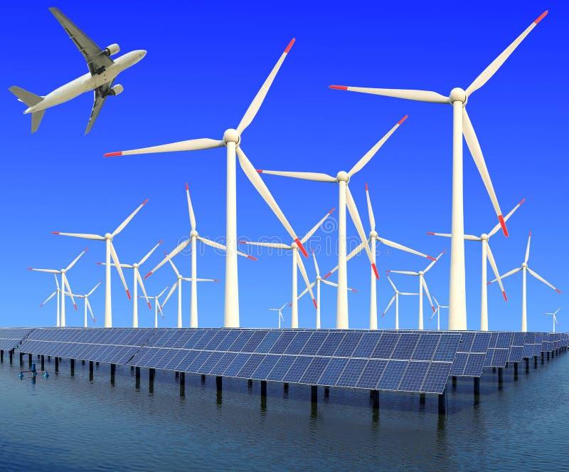 L'avion vole dans la puissance d'eco des turbines de vent et du panneau solaire images libres de droits