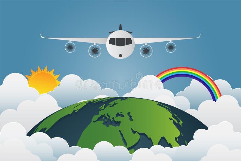 L'avion vole par le monde, les soleils de la terre avec un grand choix de c illustration de vecteur