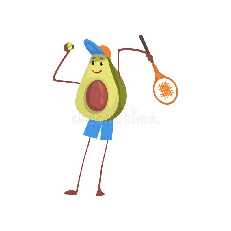L'avocat jouant au tennis ou au badminton, athlète exotique drôle Cartoon Character Doing de fruit folâtre l'illustration de vect illustration de vecteur