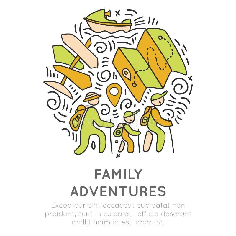 L'avventura della famiglia e la mano di attività all'aperto disegnano il concetto dell'icona Icone di viaggio della famiglia in u illustrazione vettoriale