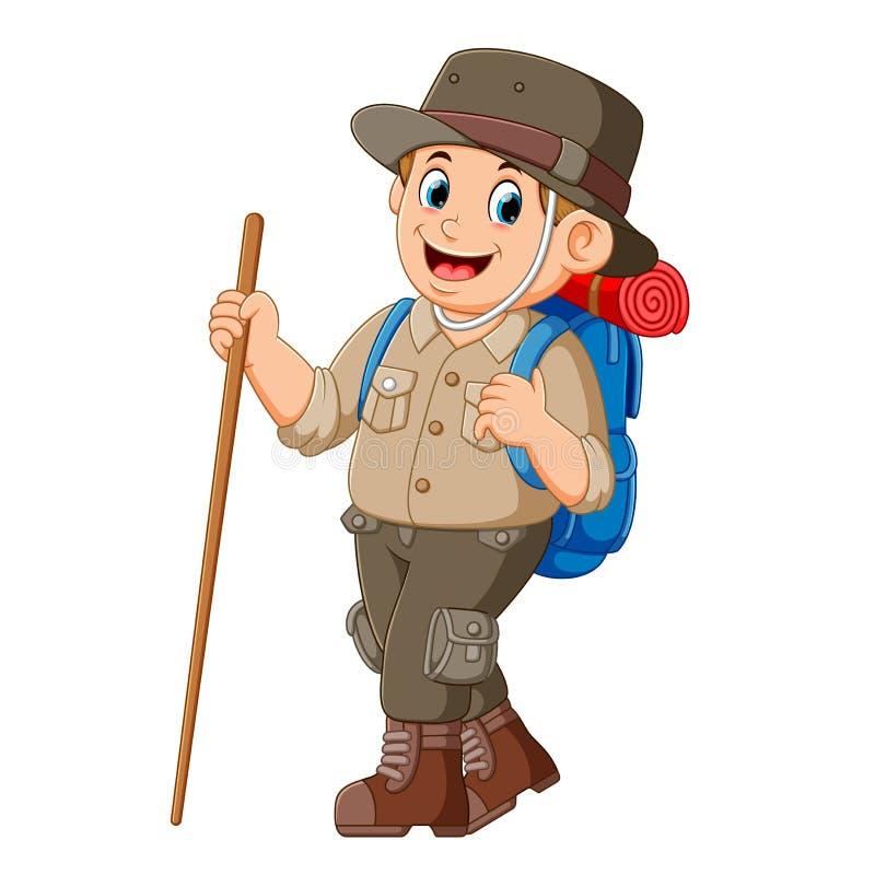 L'avventuriere che va per il viaggio illustrazione vettoriale
