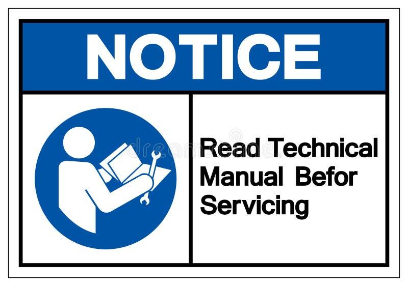L'avviso ha letto il manuale tecnico prima dell'assistenza del segno di simbolo, illustrazione di vettore, isolato sull'etichetta illustrazione di stock