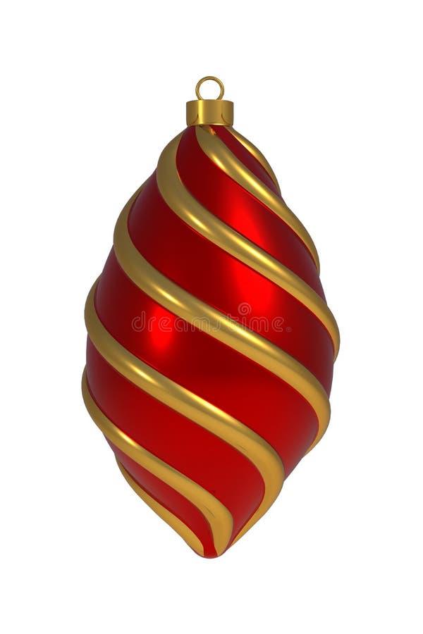 L'avvolgimento rosso dorato della decorazione del ` la s EVE del nuovo anno della palla di Natale allinea il ricordo d'attaccatur illustrazione di stock